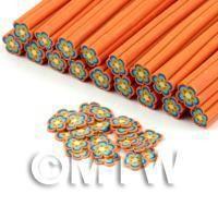 Handmade Blue and Orange Flower Cane - Nail Art (DNC61)