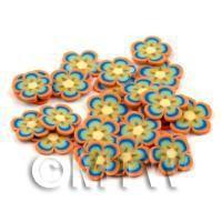 50 Orange and Blue Flower Cane Slices - Nail Art (DNS61)
