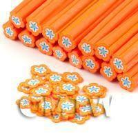 Handmade Orange and White Flower Cane - Nail Art (DNC63)