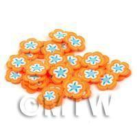 50 Orange Flower Cane Slices - Nail Art (DNS63)