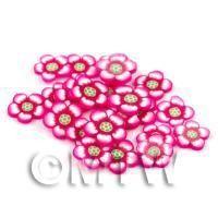 50 Dark Pink Flower Cane Slices - Nail Art (DNS64)