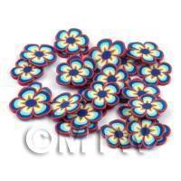 50 Blue Flower Cane Slices - Nail Art (DNS65)