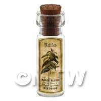 Dolls House Apothecary Nettles Herb Short Sepia Label And Bottle