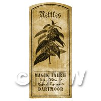 Dolls House Herbalist/Apothecary Nettles Herb Short Sepia Label