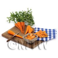 Dolls House Miniature - Dolls House Miniature Handmade Carrot Preparation Board