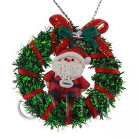 Dolls House Miniature Green Christmas Wreath With Father Christmas