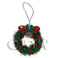 Dolls House Miniature - Dolls House Miniature Green Christmas Wreath Wreath With Bells