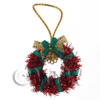 Dolls House Miniature - Dolls House Miniature Red Christmas Wreath With Bells