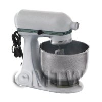 Whte And Silver Dolls House Miniature Old Style Batter / Dough Mixer