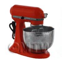 Deep Red Dolls House Miniature Old Style Batter / Dough Mixer