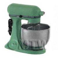 Mint Green Dolls House Miniature Old Style Batter / Dough Mixer