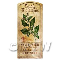 Dolls House Herbalist/Apothecary Nightshade Herb Short Colour Label