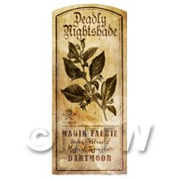 Dolls House Herbalist/Apothecary Nightshade Herb Short Sepia Label