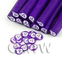 White Skull Cane With Purple Surround  - Nail Art (11NC11)