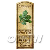 Dolls House Herbalist/Apothecary English Oak Herb Long Colour Label