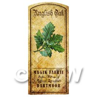 Dolls House Herbalist/Apothecary English Oak Herb Short Colour Label