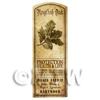 Dolls House Herbalist/Apothecary English Oak Herb Long Sepia Label