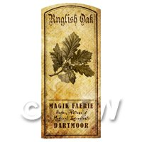 Dolls House Herbalist/Apothecary English Oak Herb Short Sepia Label