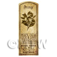 Dolls House Herbalist/Apothecary Orange Herb Long Sepia Label