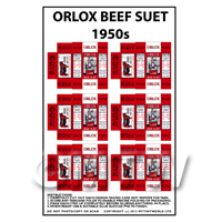 Dolls House Miniature Packaging Sheet of 6 Orlox Beef Suet 1950s