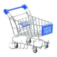 Dolls House Miniature Blue Shopping Trolley