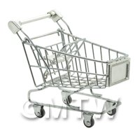 Dolls House Miniature Silver Shopping Trolley