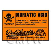 Dolls House Miniature Orange Muriatic Acid Poison Label Style 2