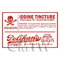 Dolls House Miniature Iodine Tincture Poison Label Style 1