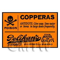 Dolls House Miniature Orange Copperas Poison Label Style 2