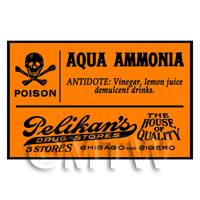 Dolls House Miniature Orange Aqua Ammonia Poison Label Style 2