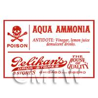 Dolls House Miniature Aqua Ammonia Poison Label Style 1