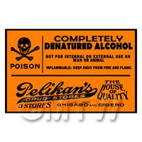 Dolls House Miniature Orange  Denatured Alcohol Label Style 2