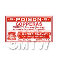 Dolls House Miniature Copperas Poison Label (S3)