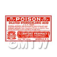 Dolls House Miniature Hydrochlorich Acid Poison Label (S3)