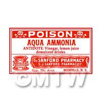 Dolls House Miniature Aqua Ammonia Poison Label (S3)
