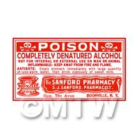 Dolls House Miniature Denatured Alcohol Poison Label (S3)