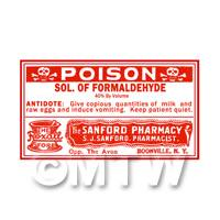 Dolls House Miniature Formaldehyde Poison Label (S3)