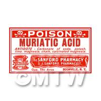 Dolls House Miniature Muriatic Acid Poison Label (S3)