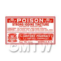 Dolls House Miniature Iodine Tincture Poison Label (S3)