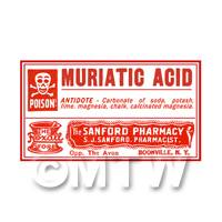 Dolls House Miniature Muriatic Acid Poison Label Style 4