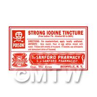 Dolls House Miniature Iodine Tincture Poison Label Style 4