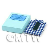 Miniature Opening Shirt Box With Blue Small Check Shirt