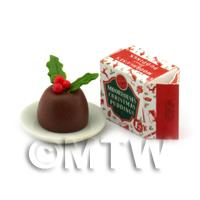 Dolls House Miniature Christmas Pudding And Box