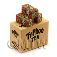 Dolls House Miniature Typhoo Tea Red Shop Stock Box And 3 Loose Boxes