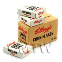 Dolls House Miniature Kellogs Corn Flakes Shop Stock Box And 3 Loose Boxes
