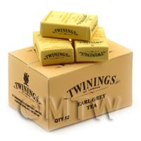 Dolls House Twinings Earl Grey Tea Stock Box And 3 Loose Boxes