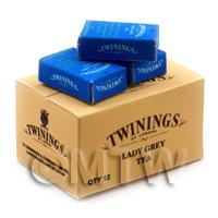 Dolls House Miniature Twinings Lady Grey Stock Box And 3 Loose Boxes