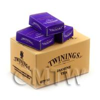 Dolls House Miniature Twinings Jasmine Tea Stock Box And 3 Loose Boxes