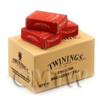 Dolls House Miniature Twinings English Tea Stock Box And 3 Loose Boxes