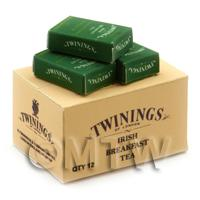 Dolls House Miniature Twinings Irish Tea Stock Box And 3 Loose Boxes